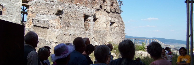 Pilgrims at the citadel in Deva
